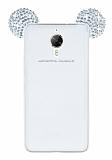 General Mobile GM 5 Plus Taşlı Kulaklı Silver Silikon Kılıf