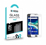 Eiroo General Mobile GM6 Tempered Glass Full Beyaz Cam Ekran Koruyucu
