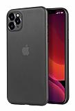 Eiroo Ghost Thin iPhone 11 Pro Max Ultra İnce Şeffaf Siyah Rubber Kılıf