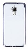 Eiroo Glace General Mobile GM 5 Plus Taşlı Siyah Kenarlı Şeffaf Silikon Kılıf