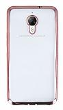 Eiroo Glace General Mobile GM 5 Plus Taşlı Rose Gold Kenarlı Şeffaf Silikon Kılıf