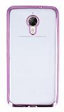 Eiroo Glace General Mobile GM 5 Plus Taşlı Pembe Kenarlı Şeffaf Silikon Kılıf