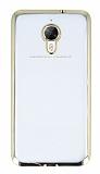 Eiroo Glace General Mobile GM 5 Plus Taşlı Gold Kenarlı Şeffaf Silikon Kılıf