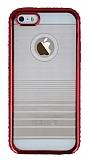Eiroo Glace iPhone SE / 5 / 5S Kırmızı Taşlı Kenarlı Şeffaf Silikon Kılıf
