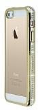 Eiroo Glace iPhone SE / 5 / 5S Ta�l� Gold Kenarl� �effaf Silikon K�l�f