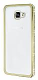 Eiroo Glace Samsung Galaxy A5 2016 Ta�l� Gold Kenarl� �effaf Silikon K�l�f