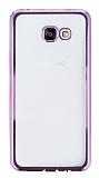Eiroo Glace Samsung Galaxy A7 2016 Taşlı Pembe Kenarlı Şeffaf Silikon Kılıf