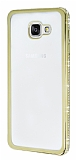 Eiroo Glace Samsung Galaxy A7 2016 Ta�l� Gold Kenarl� �effaf Silikon K�l�f