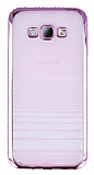 Eiroo Glace Samsung Galaxy A8 Pembe Taşlı Kenarlı Şeffaf Silikon Kılıf