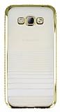 Eiroo Glace Samsung Galaxy A8 Gold Ta�l� Kenarl� �effaf Silikon K�l�f