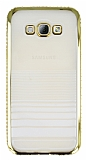 Eiroo Glace Samsung Galaxy A8 Gold Taşlı Kenarlı Şeffaf Silikon Kılıf