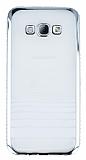Eiroo Glace Samsung Galaxy A8 Silver Taşlı Kenarlı Şeffaf Silikon Kılıf