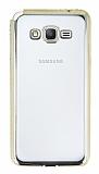 Eiroo Glace Samsung Galaxy Grand Prime / Prime Plus Gold Taşlı Kenarlı Şeffaf Silikon Kılıf