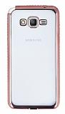 Eiroo Glace Samsung Galaxy Grand Prime / Prime Plus Rose Gold Taşlı Kenarlı Şeffaf Silikon Kılıf