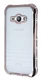 Eiroo Glace Samsung Galaxy J1 Ace Rose Gold Taşlı Kenarlı Şeffaf Silikon Kılıf