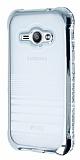 Eiroo Glace Samsung Galaxy J1 Ace Silver Taşlı Kenarlı Şeffaf Silikon Kılıf