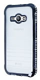 Eiroo Glace Samsung Galaxy J1 Ace Siyah Taşlı Kenarlı Şeffaf Silikon Kılıf