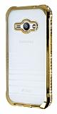 Eiroo Glace Samsung Galaxy J1 Ace Gold Taşlı Kenarlı Şeffaf Silikon Kılıf