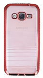 Eiroo Glace Samsung Galaxy J2 Kırmızı Taşlı Kenarlı Şeffaf Silikon Kılıf