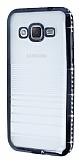 Eiroo Glace Samsung Galaxy J2 Siyah Ta�l� Kenarl� �effaf Silikon K�l�f