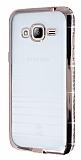Eiroo Glace Samsung Galaxy J3 2016 Rose Gold Taşlı Kenarlı Şeffaf Silikon Kılıf