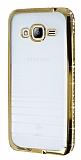 Eiroo Glace Samsung Galaxy J3 2016 Gold Taşlı Kenarlı Şeffaf Silikon Kılıf
