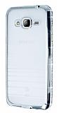 Eiroo Glace Samsung Galaxy J3 2016 Silver Taşlı Kenarlı Şeffaf Silikon Kılıf