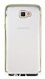 Eiroo Glace Samsung Galaxy J5 Prime Gold aşlı Kenarlı Şeffaf Silikon Kılıf