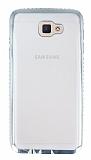 Eiroo Glace Samsung Galaxy J5 Prime Silver Taşlı Kenarlı Şeffaf Silikon Kılıf