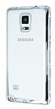 Eiroo Glace Samsung Galaxy Note 4 Taşlı Silver Kenarlı Şeffaf Silikon Kılıf