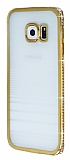 Eiroo Glace Samsung Galaxy S6 Edge Gold Ta�l� Kenarl� �effaf Silikon K�l�f
