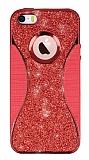 Eiroo Glint iPhone SE / 5 / 5S Simli Kırmızı Silikon Kılıf