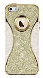 Eiroo Glint iPhone SE / 5 / 5S Simli Gold Silikon Kılıf