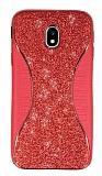 Eiroo Glint Samsung Galaxy J3 Pro 2017 Simli Kırmızı Silikon Kılıf