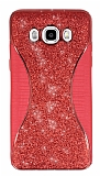 Eiroo Glint Samsung Galaxy J7 2016 Simli Kırmızı Silikon Kılıf