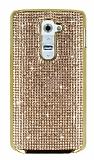 Eiroo Glows LG G2 Taşlı Rose Gold Rubber Kılıf