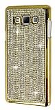 Eiroo Glows Samsung Galaxy A7 Taşlı Gold Rubber Kılıf