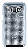 Eiroo Glows Samsung Galaxy J1 Taşlı Silver Rubber Kılıf