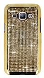 Eiroo Glows Samsung Galaxy J1 Taşlı Gold Rubber Kılıf
