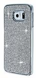 Eiroo Diamond Samsung Galaxy S6 Edge Metal Kenarlı Taşlı Silver Rubber Kılıf