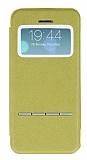 Eiroo Godcis iPhone 5 / 5S Manyetik Kapakl� Pencereli Ye�il Deri K�l�f