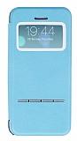 Eiroo Godcis iPhone 5 / 5S Manyetik Kapakl� Pencereli Mavi Deri K�l�f