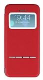 Eiroo Godcis iPhone 5 / 5S Manyetik Kapakl� Pencereli K�rm�z� Deri K�l�f