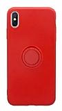 Eiroo Grade iPhone X / XS Standlı Kırmızı Silikon Kılıf