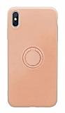 Eiroo Grade iPhone X / XS Standlı Açık Pembe Silikon Kılıf