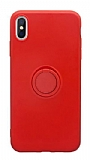 Eiroo Grade iPhone XS Max Standlı Kırmızı Silikon Kılıf