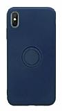 Eiroo Grade iPhone XS Max Standlı Lacivert Silikon Kılıf
