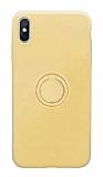 Eiroo Grade iPhone XS Max Standlı Sarı Silikon Kılıf