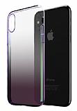 Eiroo Gradient iPhone XS Max Geçişli Mor Rubber Kılıf