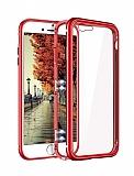 Eiroo Hard Glass iPhone 7 / 8 Kırmızı Rubber Kenarlı Cam Kılıf